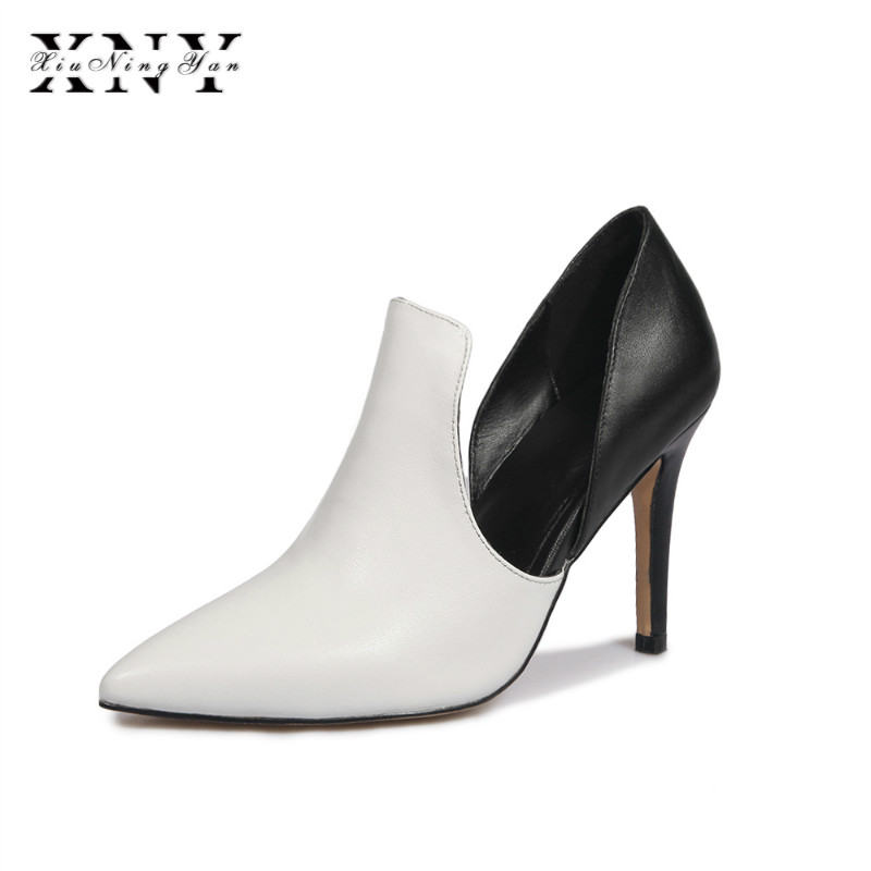 XIUNINGYAN High Quality Sexy Women Pumps Pointed Toe shoes Mixed Color Leather Thin High Heels Wedding Shoes Pumps Party Shoes women suede pumps high heels women pumps sexy high heels shoes women pointed toe thin heel ladies wedding shoes b242