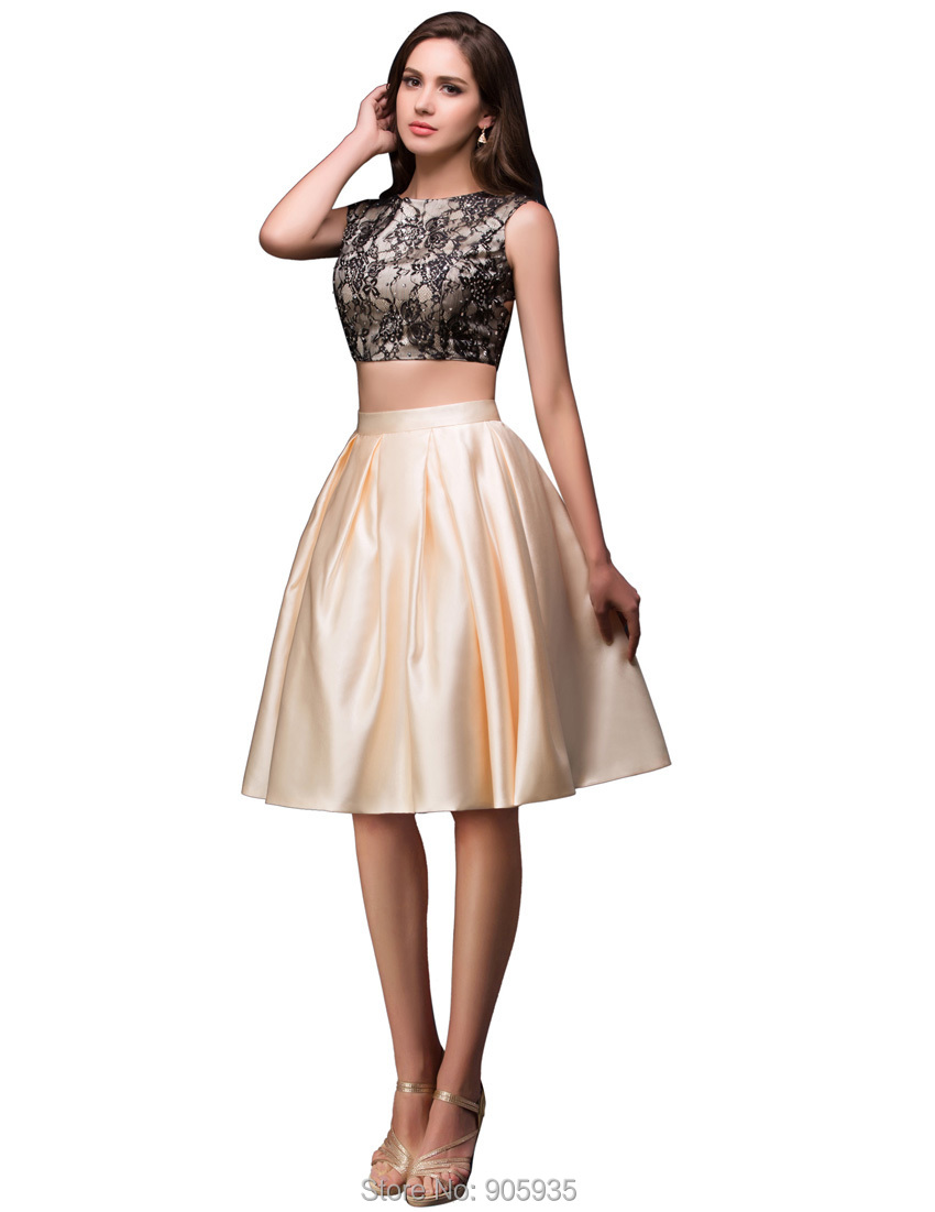 New Arrival Female Sexy Rhinestones Satin Lace Short Prom Dresses Apricot  Two Piece Cocktail Party Dress Free Shipping CL008916-in Prom Dresses from  ...