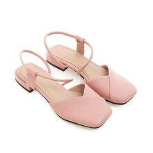 B2-7 Размеры 33-46 женские из искусственной кожи Большие Размеры сандалии для девочек квадратные носки Босоножки с низкой посадкой женская обувь на толстом каблуке Для женщин Летняя обувь