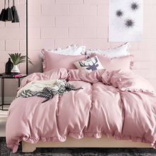 Three-piece set of sanding thickening home textile bedding Ruffled edge Pastoral style simple solid color Bedding extra large