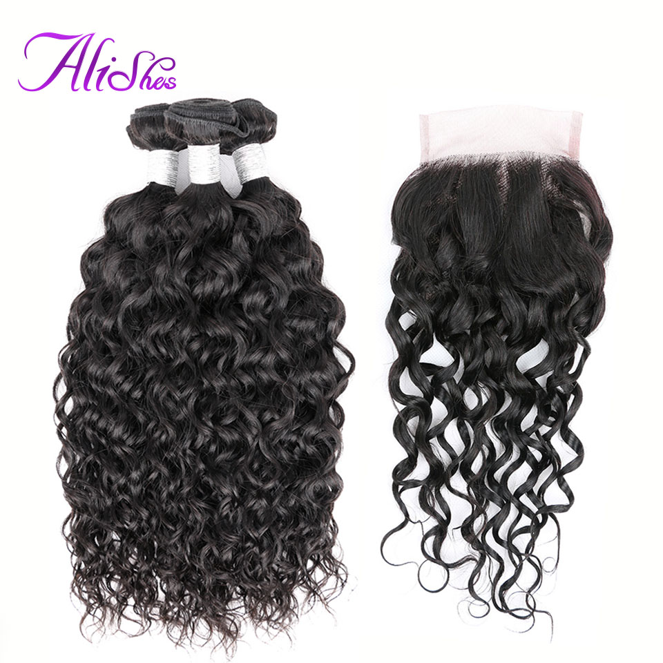 Alishes Peruvian Hair 3 Bundles Water Wave Human Hair With Closure 4PCS/LOT Remy Hair Bundles With Free Part Closure Hand Tied