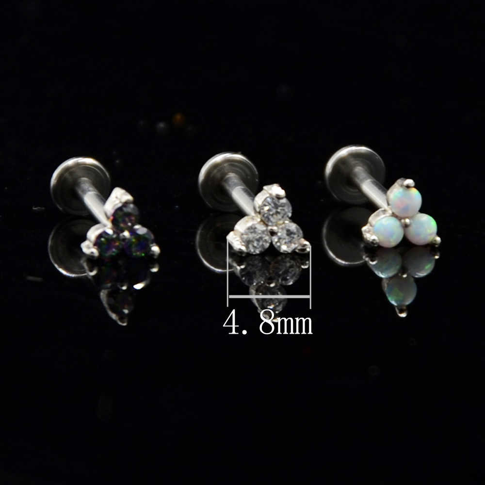 1 قطعة الشق الإعداد الزركون أوبال الأذن اللولب الزنمة الغضروف وأقراط داخليا الموضوع Labret مونرو الشفاه مسمار ثقب المجوهرات