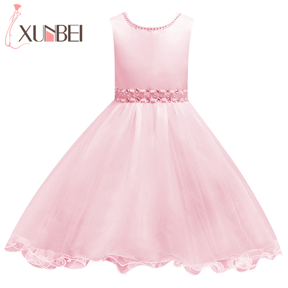 Lovely Pink Ball Gown Short   Flower     Girl     Dresses   2018 Beaded Pearls First Communion   Dresses   For   Girls   Pageant   Dress