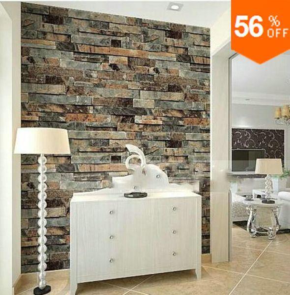 moderne pierre brique 3d papier peint salle manger. Black Bedroom Furniture Sets. Home Design Ideas