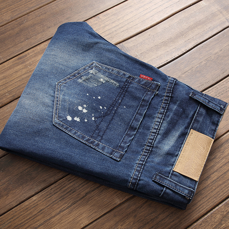 HOHO 2018 fashion mens hole in jeans Badge adornment patch scrape bad youth skinny jeans