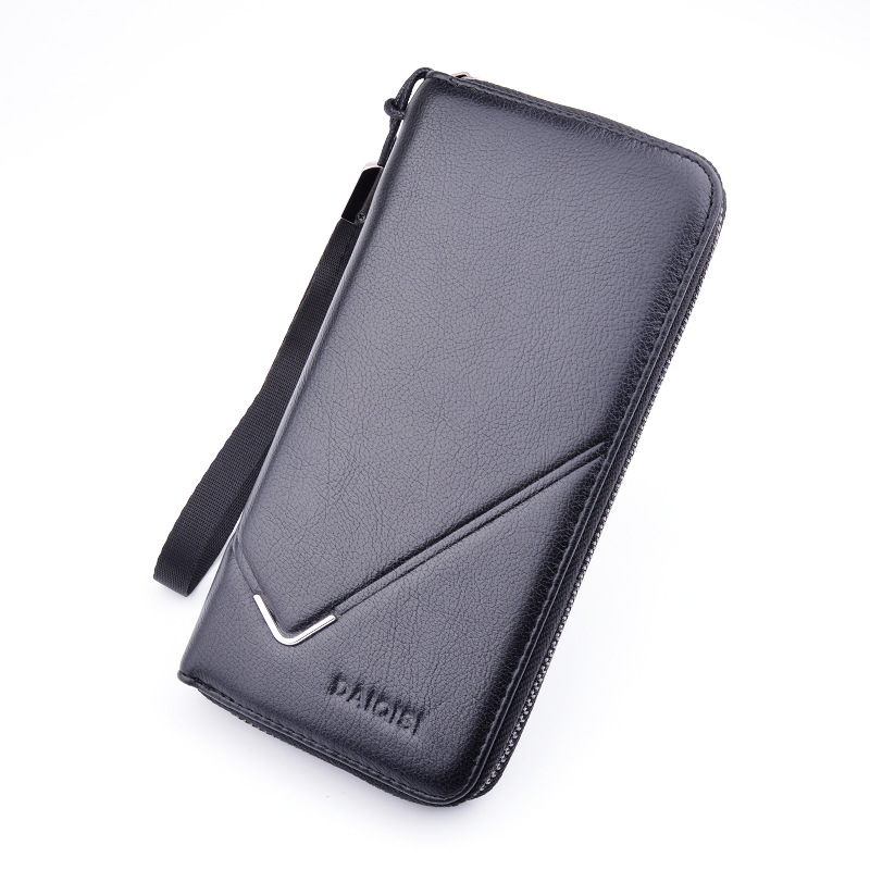 Zipper Long Men Wallets Leather Men's Wallet Business Card Holder Coin Purse Solid Male Purse Clutch Bags Wristlet Phone Bag men s purse long genuine leather clutch wallet travel passport holder id card bag fashion male phone business handbag