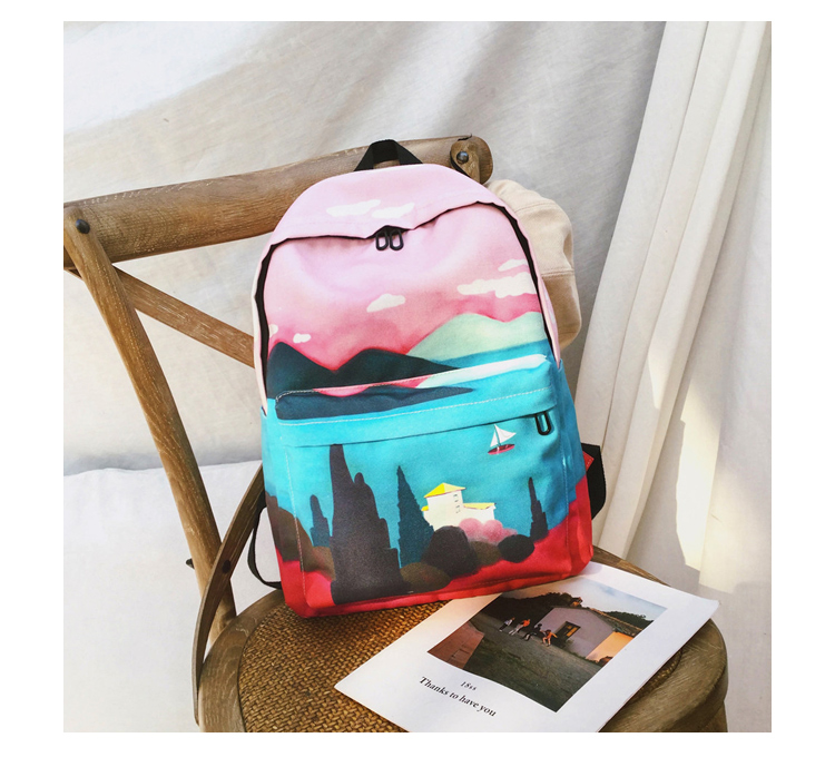 Menghuo Fresh Canvas Backpack Women Landscape School Bags for Teenagers Girls New Backpack Travel Bag Rucksack Mochilas Knapsack_34_25