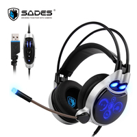 SADES 908 Physical 7 1 Surround USB Gaming Headset Headphone LED Lights With Microphone Vibration Volume