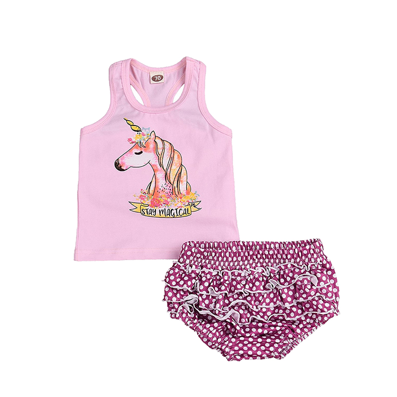 2018 Hot Summer Newborn Infant Kids Baby Girls Outfits Clothes Vest Tops +Shorts Pants Clothes 2PCS Set ship from USA