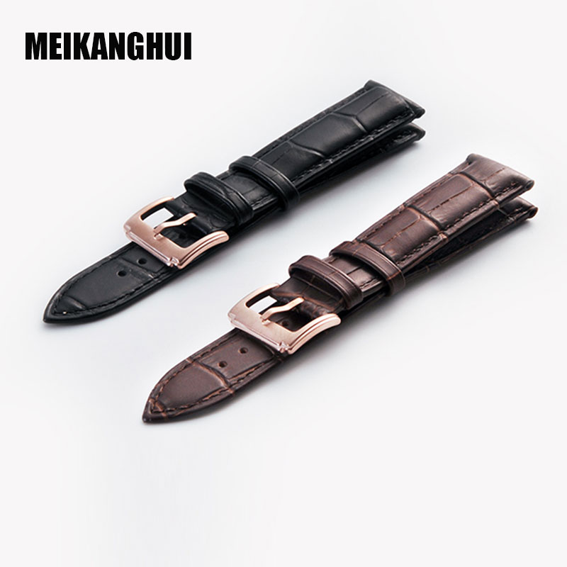 MEIKANGHUI Watchband For Tissot T035 Series Black Brown Genuine Leather High Quality  Watch Band For Men Black Watch Accessories