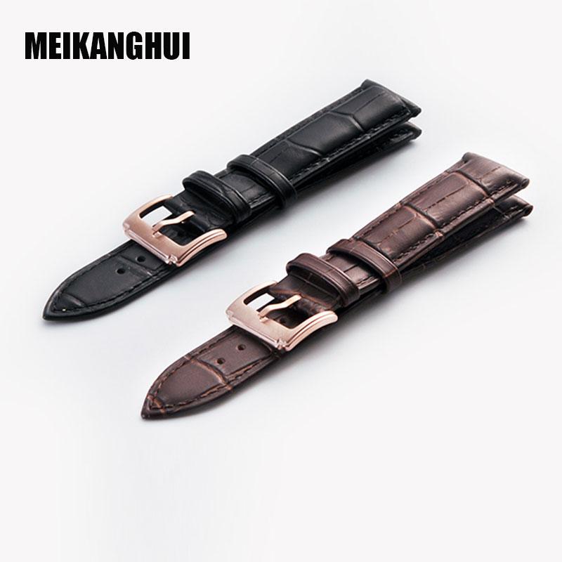 MEIKANGHUI Urbånd til Tissot T035-serien sort brun ægte læder høj kvalitet urbånd til mænd sort ur tilbehør