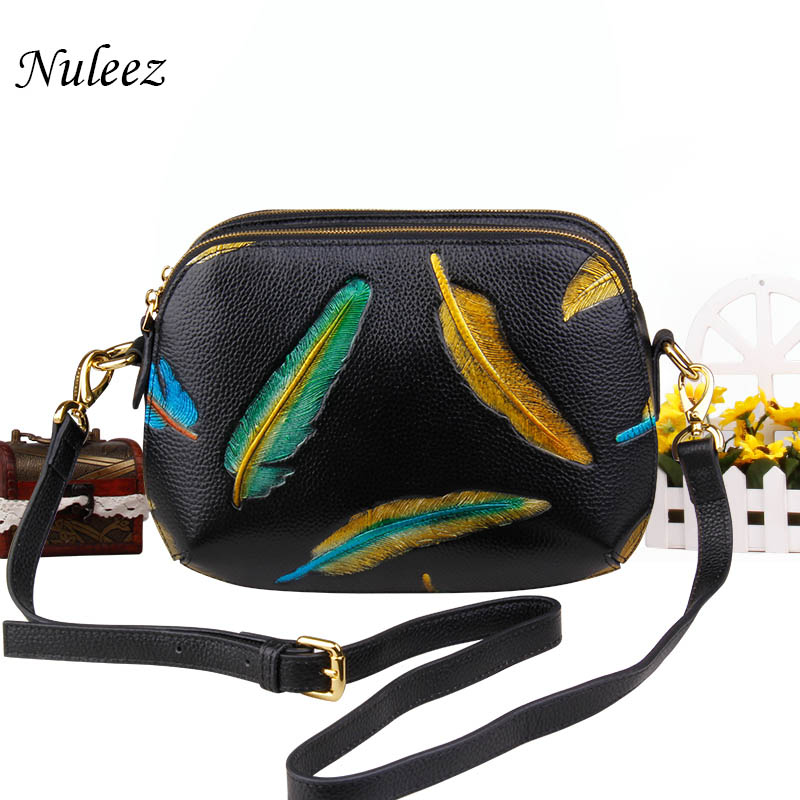 Nuleez genuine cowhide real leather cross-body bag women Chinese hand carving feathers perfect and special bag for ladiesNuleez genuine cowhide real leather cross-body bag women Chinese hand carving feathers perfect and special bag for ladies