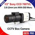 Mini hd de 1/3 sony ccd 700tvl effio-e d-bala wdr 2.8-12mm lente cctv redução caixa de câmera de segurança para 960 h dvr cctv