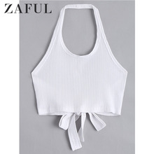 32f1960c49be2a ZAFUL Criss-Cross Halter Ribbed Crop Top 2018 Summer Vest Girl Tops Casual  Kint Tanks