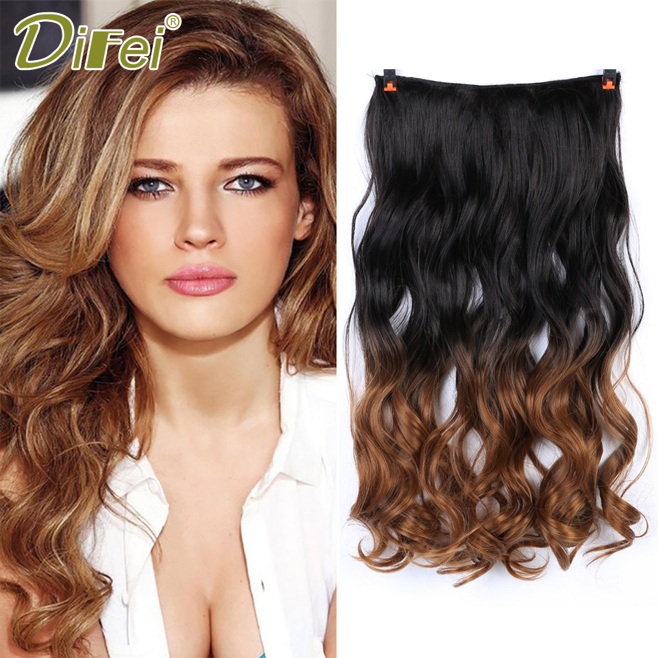 DIFEI Natural Synthetic Hair Extensions Ombre Long Curly Hair 5 Clip In Hairpieces Heat  ...