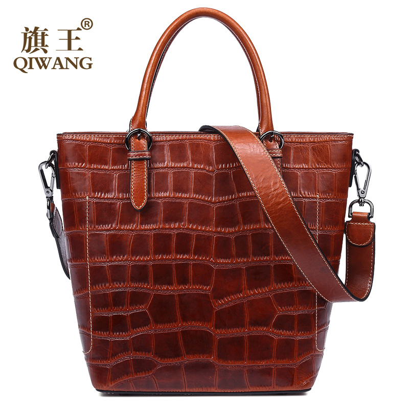 Qiwang Business Women Bag Luxury Women Design Fashion Retro Shell Tote Bag Vintage Handbag High Quality for Rich Women crocodile retro women bag luxury women design fashion retro leather tote handbag solid bucket bag design fashion bags