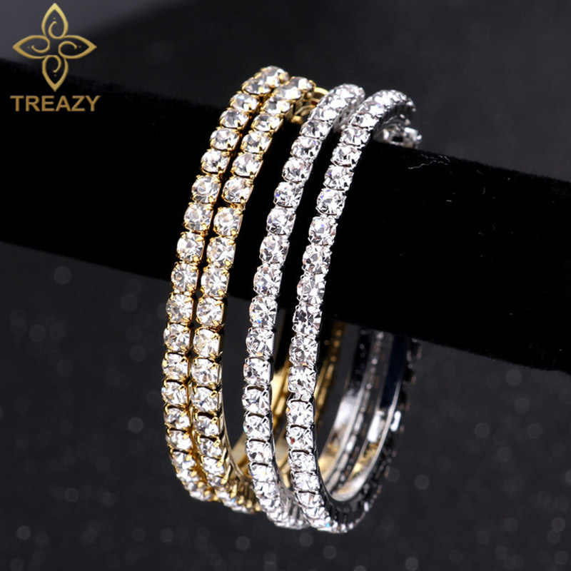 TREAZY 2019 Fashion Rhinestones Big Circle Earrings Gold Silver Crystal Hoop Earrings For Women Wedding Gift  Boucles d'oreilles