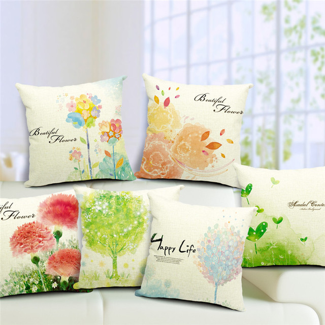 Spring Cushion Cover Green Trees Decorative Throw Pillow Case Linen Colorful Forest Painting Scenery Sea