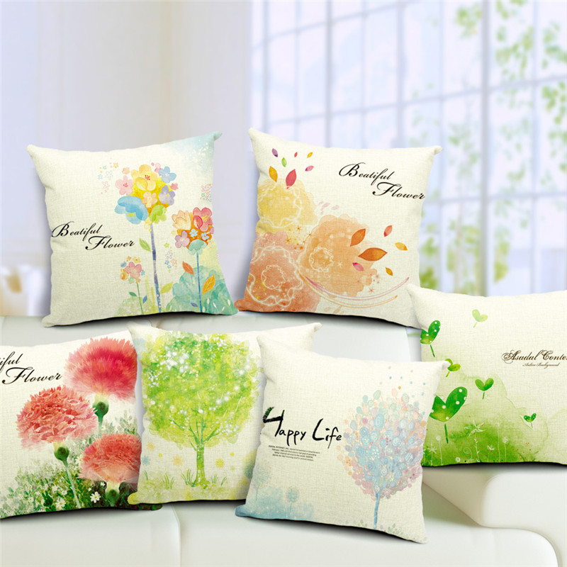 Spring Cushion Cover Green Trees Decorative Throw Pillow Case Linen Colorful Forest Painting Scenery Sea Green Blue Home Decor