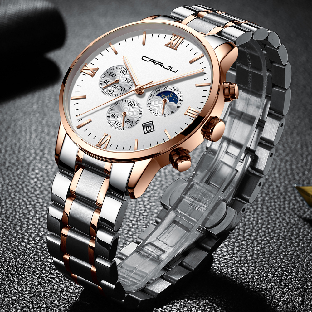 Fashion Women Watches Ladies CRRJU Top Brand Luxury Waterproof Gold Quartz Watch Women Stainless Steel Date Wear Gift Clock 2020