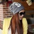 Outono Inverno Feminino de algodão Chapéus Moda carta Turbante Cap Pilha Chapéu acessório PRESENTE perfeito