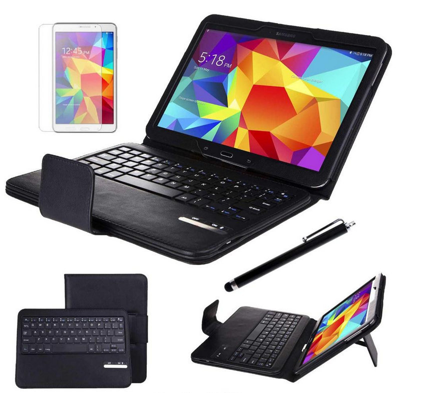 3 in 1 Luxury leather Detachable Bluetooth Keyboard Case for Samsung Galaxy Tab 4 10.1 T530 + stylus Pen 2017