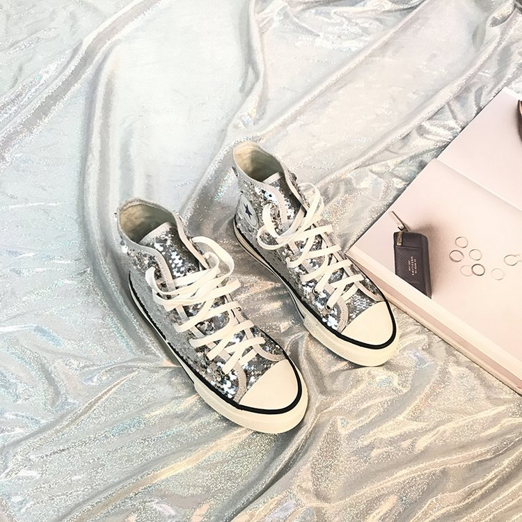 Tleni 2018 New High Top White Women Flats running Shoes Ladies Canvas Shoes lace-up Bling Bling sneaker shoes ZK-20 14