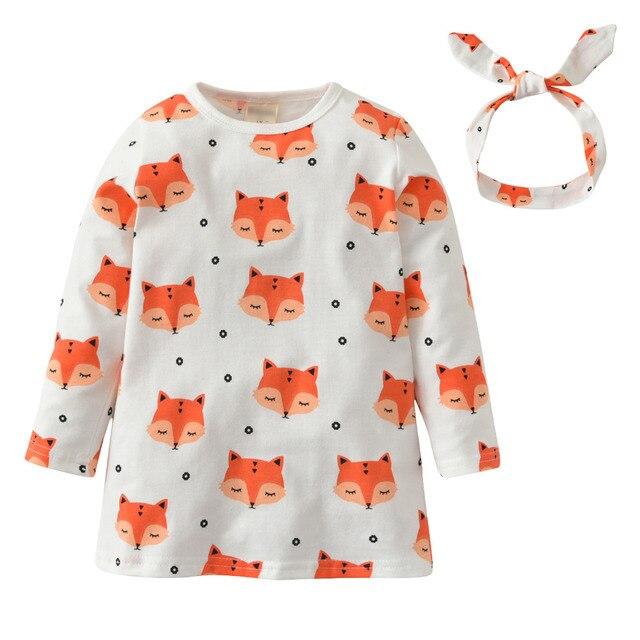 59c4cb4971 2019 Venda Quente Roupa Infantil Vestido Da Menina Do Bebê Raposa Dos  Desenhos Animados Padrão manga