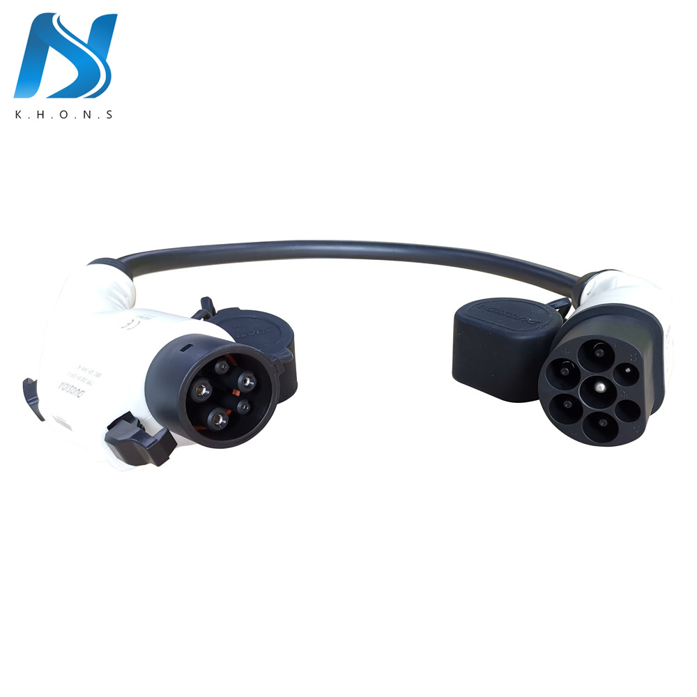 Khons EVSE EV Adapter SAE J1772 Type 1 to Type 2 16A 32A Plug Electric Car vehicle Charging Cable Connector Portable EV Charger