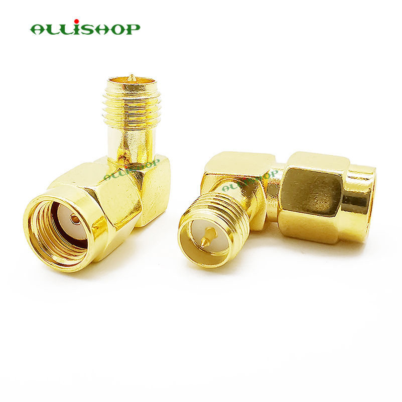 RP SMA Brass Adapter RP SMA Male Jack To RP SMA Female Jack Screw Thread Connector 90 Degrees Right Angle RF SMA Adapter