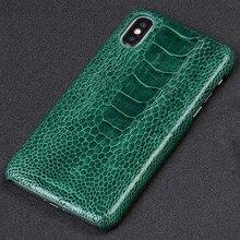 100% echten Straußen Leder Telefon Fall für iPhone X 11 Pro Max 12 Mini XR XS 12 Pro MAX 7 8 Plus 6s 6 5 SE 2 2020 Luxus Abdeckung