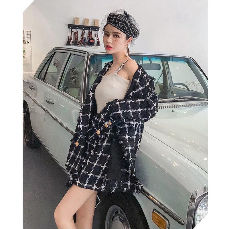 A Qualità Lusso Inverno Giacca Piccolo Due Modo Tweed Gonna Marca E Set Fragranza Black Delle Plaid Pezzi Alta Corta Di Autunno Vestito Signore wqU7v5