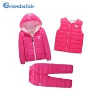 Grandwish Winter Girls Down Sets Children Autumn Jackets Coats Vests Pants 3 Pcs Boys Suits Kids