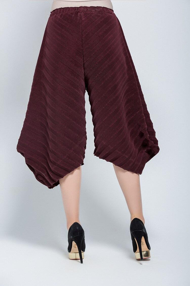 Irregular De Verano Amplia Gratis Stock Personalidad gris Miyake Plisado Envío Negro púrpura dark Culottes borgoña Pierna Moda Blue Y Pantalones Primavera En OxfwBI4Iq
