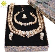 Ювелирные наборы для женская обувь кулон кристалл золотой Цвет Цепочки и ожерелья Серьги браслет Кольца свадебное платье Интимные аксессуары + подарочная коробка