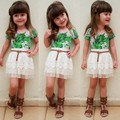 2016 Promotion Fashion Regular O-neck Cotton Print Minnie Mouse New Kids Girl Wear Two Pieces T Shirt Tops And Lace Skirt Set