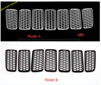 New For Jeep Compass 2011 2014 Honeycomb Style Front Grille Grill Bezel Cover Trims 7pcs Set