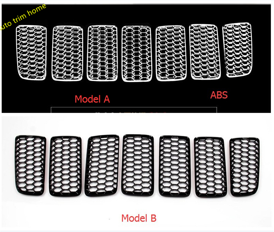 Interior For Jeep Compass 2011 - 2016 ABS Honeycomb Style Front Grille Grill Bezel Cover Trim 7 Pcs / 2 Color For Choice fits for 2011 2016 zotye t600 black radiator grille painted parts racing front grill grille 1pc