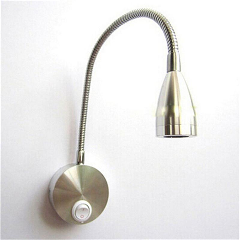 AC 85-265 В 3 Вт 360 градусов Гибкая рука светодиодный светильник настенный Чтение Свет ночники с коммутатором