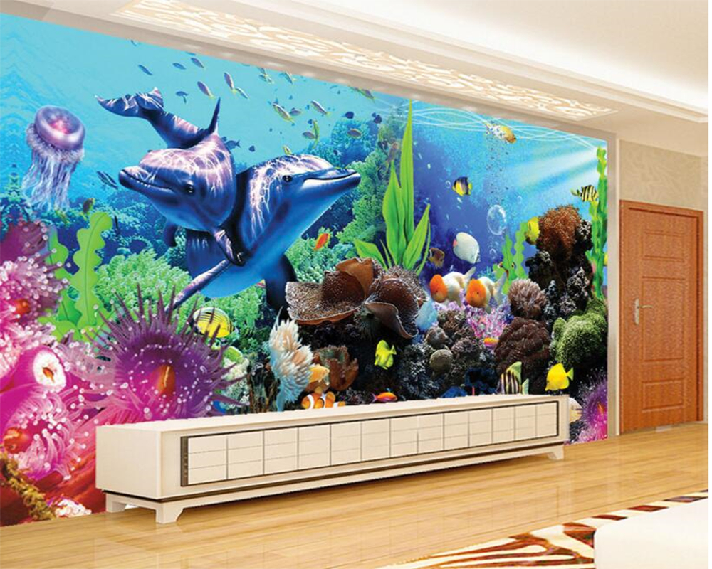 US $9.0 40% OFF|Beibehang kinderzimmer dekoration 3D tapete unterwasser  welt aquarium 3D stereo delphin korallen TV wand tapete wandbild in  Beibehang ...