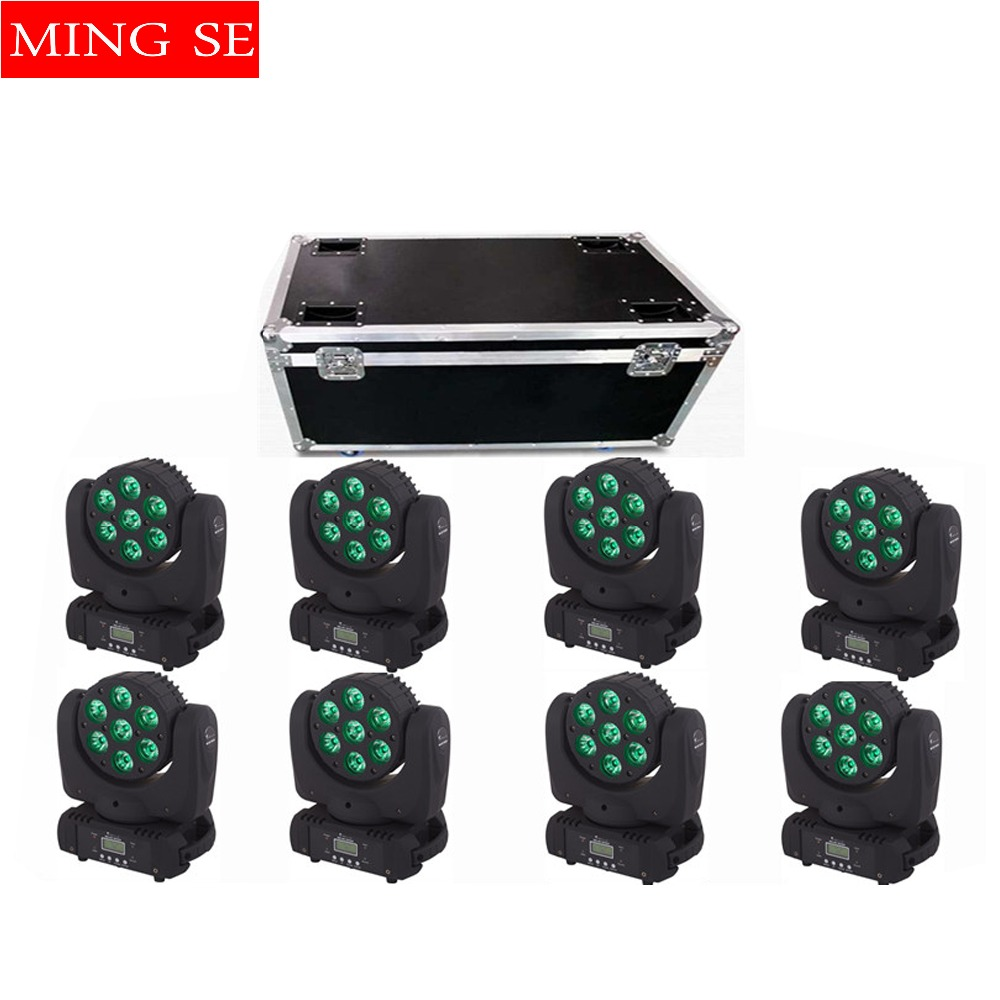 8pcs/lots DMX512 stage light  7x12w RGBW LED Moving Head LED Beam DJ Disco Party Effect Lighting LED wash light with flight case8pcs/lots DMX512 stage light  7x12w RGBW LED Moving Head LED Beam DJ Disco Party Effect Lighting LED wash light with flight case