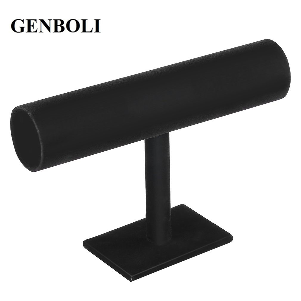 GENBOLI Velvet Jewelry T Bars Rack Organizer Hard Stand Holder Bracelet Chain Watch Necklaces Jewelry Display Packgaing  Fashion