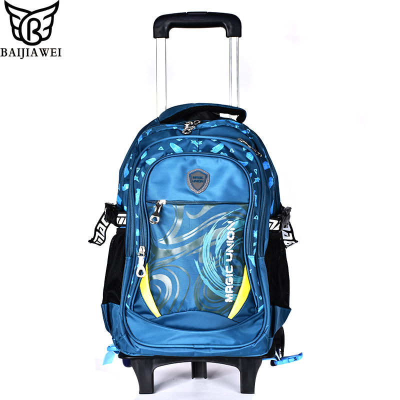 BAIJIAWEI Children Trolley Backpack Boys Girls Wheeled School Bags Students Waterproof Nylon Backpacks For Teenagers pink school bags hot girl s princess backpacks for teenagers children kids nylon 3d student backpacks 33 28 10 cm aw84