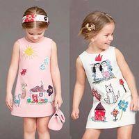 Milan Creations Baby Girls Dress Princess Costume 2016 Brand Kids Clothes Girls Dresses Scrawl Print Kids