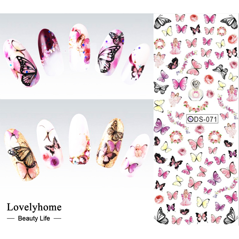 DS071 Nail Design Water Transfer Nails Art Sticker Colorful Butterfly Nail Wraps Sticker Watermark Fingernails Decals ds311 new design water transfer nails art sticker harajuku elements colorful water drops nail wraps sticker manicura decal