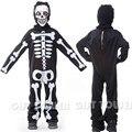 M ~ XL 2016 Crânio Esqueleto Fantasma Crianças Cosplay Hallowean Traje Crianças Menino Macacão Bodysuit Robe Terno Do Partido Do Disfarce de Terror