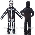 M~XL 2016 Skull Ghost Children Cosplay Hallowean Skeleton Costume Kids Boy Masquerade Party Terror Bodysuit Overalls Robe Suit