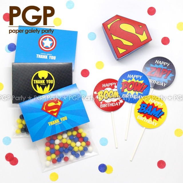 PGP Superhero Candy Box Bag Cake Topper Superman Batman Justice League Kids Boy 1st Birthday Childrens Day Party Thanks Gjft