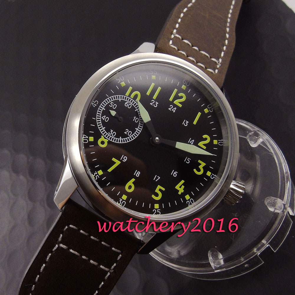 цена Brushed 45mm Parnis black dial yellow numbers Newest Stainless steel case 17 jewels 6497 hand winding movement Men's Watch онлайн в 2017 году