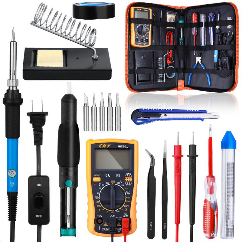 110V 220V 60W 21 In 1 Electric Soldering Iron Kit Adjustable Temperature Solder With Multimeter Tips Handheld Storage Box EU/US